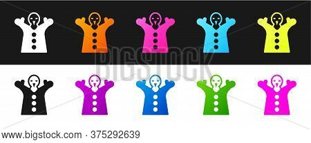 Set Toy Puppet Doll On Hand Icon Isolated On Black And White Background. Vector