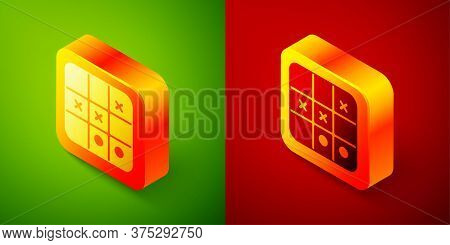 Isometric Tic Tac Toe Game Icon Isolated On Green And Red Background. Square Button. Vector