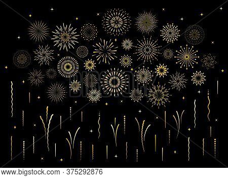 Abstract Burst Gold Pattern Fireworks Set. Art Deco Star Shaped Firework Pattern Collection Isolated