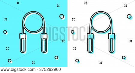 Black Line Jump Rope Icon Isolated On Green And White Background. Skipping Rope. Sport Equipment. Ra