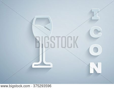 Paper Cut Wine Glass Icon Isolated On Grey Background. Wineglass Icon. Goblet Symbol. Glassware Sign