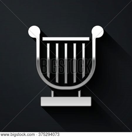 Silver Ancient Greek Lyre Icon Isolated On Black Background. Classical Music Instrument, Orhestra St