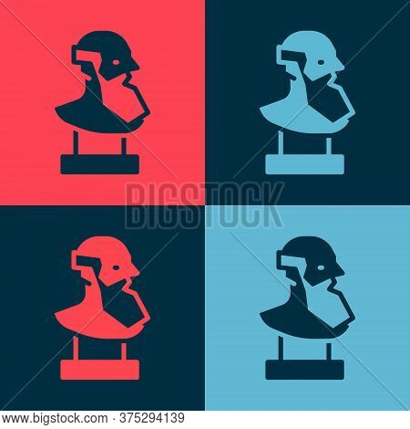 Pop Art Ancient Bust Sculpture Icon Isolated On Color Background. Vector