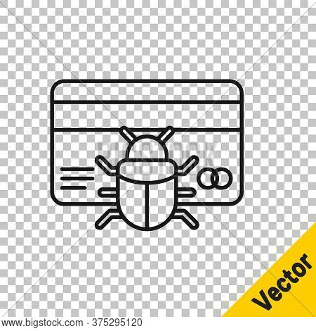 Black Line System Bug In Credit Card Icon Isolated On Transparent Background. Code Bug Concept. Bug