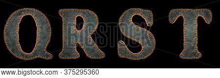 Set of leather letters Q, R, S, T uppercase. 3D render font with skin texture isolated on black background. 3d rendering