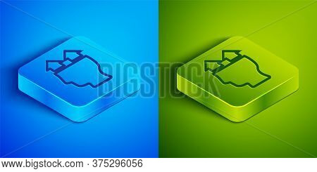 Isometric Line User Of Man Icon Isolated On Blue And Green Background. Business Avatar Symbol User P