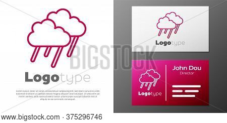 Logotype Line Cloud With Rain Icon Isolated On White Background. Rain Cloud Precipitation With Rain