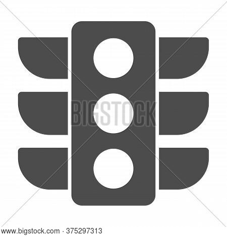 Traffic Lights Solid Icon, Navigation Concept, Traffic Light Signal Sign On White Background, Road L