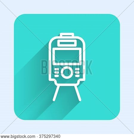 White Line Tram And Railway Icon Isolated With Long Shadow. Public Transportation Symbol. Green Squa