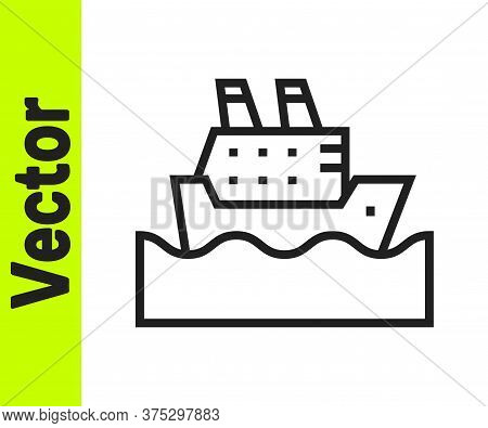 Black Line Cruise Ship In Ocean Icon Isolated On White Background. Cruising The World. Vector