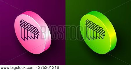 Isometric Line Pan Flute Icon Isolated On Purple And Green Background. Traditional Peruvian Musical