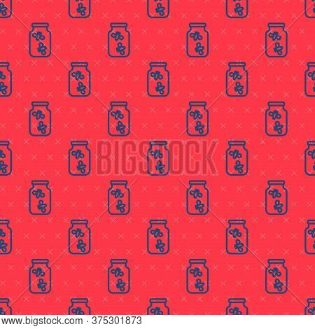 Blue Line Fireflies Bugs In A Jar Icon Isolated Seamless Pattern On Red Background. Vector