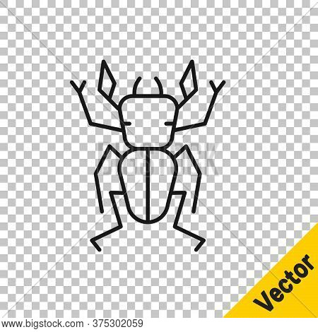 Black Line Beetle Deer Icon Isolated On Transparent Background. Horned Beetle. Big Insect. Vector