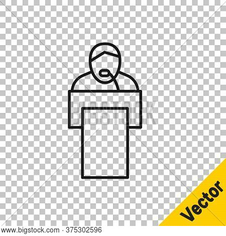 Black Line Gives Lecture Icon Isolated On Transparent Background. Stand Near Podium. Speak Into Micr