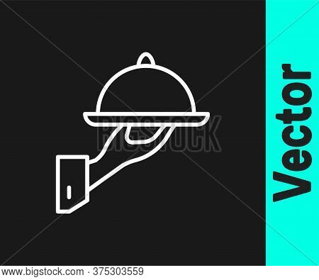 White Line Covered With A Tray Of Food Icon Isolated On Black Background. Tray And Lid Sign. Restaur