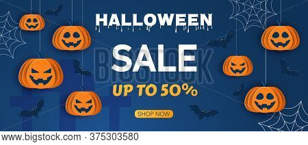 Halloween offer design template. Sale background. Happy Halloween Halloween classic blue background with pumpkins and bats in paper style, 3D. Happy Halloween banner or party invitation background with clouds