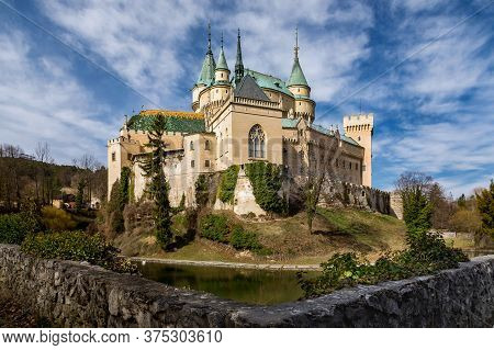 Medieval Castle Bojnice In Slovakia. Ancient Castle With Gothic And Renaissance Elements. Unesco Her