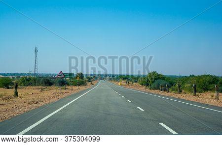 Highway, Path, Road In Desert Of Rajasthan, India, Road Passing Through A Landscape, Jaisalmer, Raja