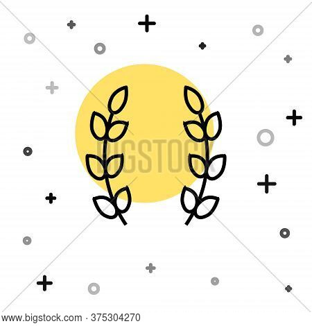 Black Line Laurel Wreath Icon Isolated On White Background. Triumph Symbol. Random Dynamic Shapes. V