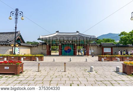 Gimhae, South Korea - June 18, 2017 : Door Entrance And Exit Of Royal Tomb Of King Suro Of Gaya King