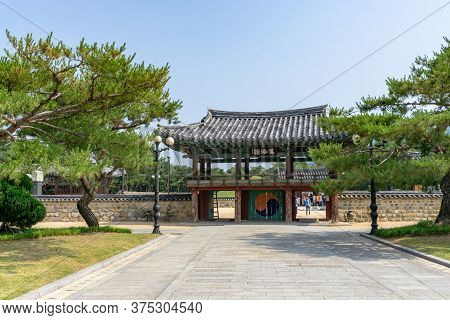 Gimhae, South Korea - June 18, 2017 : Second Gate Of Royal Tomb Of King Suro Of Gaya Kingdom In Gime