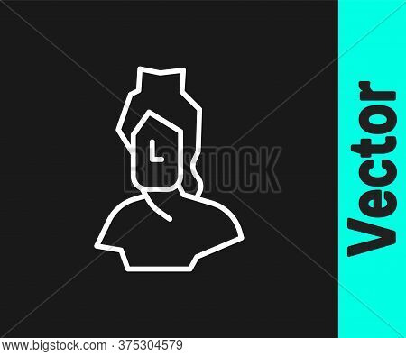 White Line Ancient Bust Sculpture Icon Isolated On Black Background. Vector