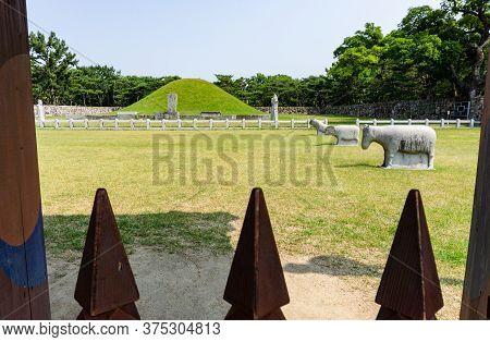 Gimhae, South Korea - June 18, 2017 : Mound Of Royal Tomb Of King Suro Of Gaya Kingdom In Gimehae, S