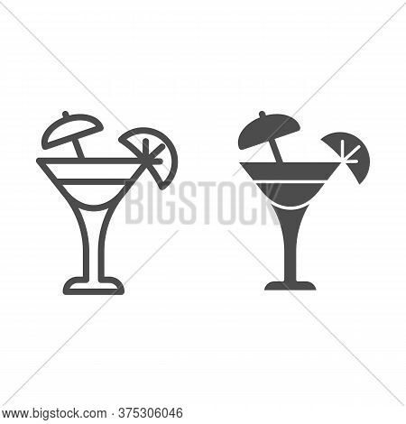 Glass With Umbrella And Slice Of Lemon Line And Solid Icon, Drinks Concept, Fresh Cocktail Drink Wit