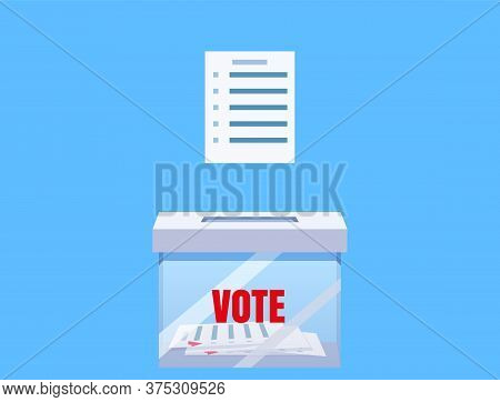 Election Vote Box Transparent With Voting Blanc Paper, Ballot Campaign. Vector Isolated Illustration