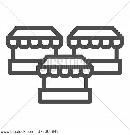 Stalls Line Icon, Market Concept, Three Street Shops Sign On White Background, Bazaar Stands Icon In