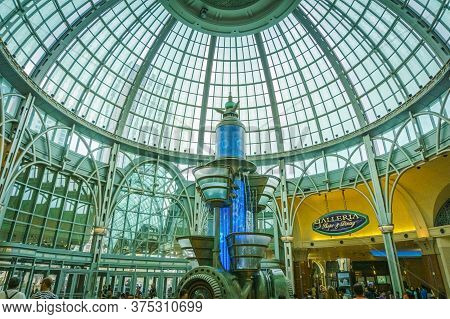 July 2015 - Glass Dome Ceiling In The Lobby Of Fallsview Mall At Niagara, Canada. Fallsview Mall Is