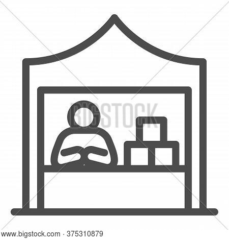 Kiosk With Seller And Goods Line Icon, Commerce Concept, Marketplace Tent With Seller Sign On White