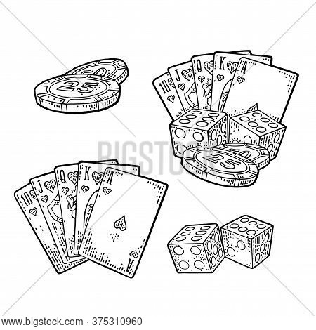 Casino Set. Royal Straight Flush Playing Cards In Hearts, Poker Tokens, Dice. Vector Vintage Black E