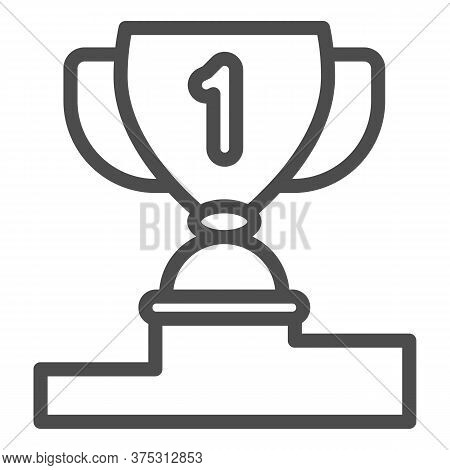 Winner Cup On Pedestal Line Icon, Sport Concept, First Place Trophy Cup Sign On White Background, Aw