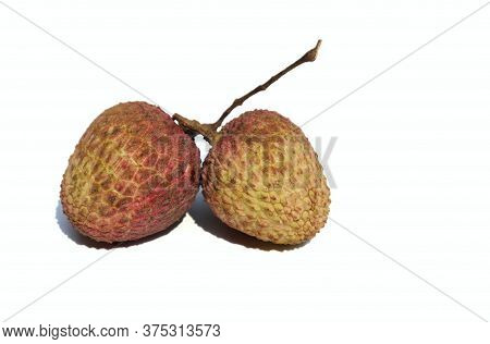 Juicy Litchi Or Lychee Isolated On White Background With Copy Space For Texts Writing