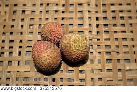 Juicy Lychee Or Litchi Fruit With Selective Focus