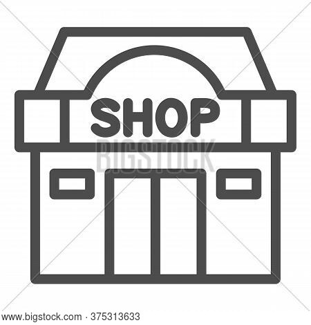 Shop Building Line Icon, Shopping Concept, Store Showcase Sign On White Background, Shop Storefront