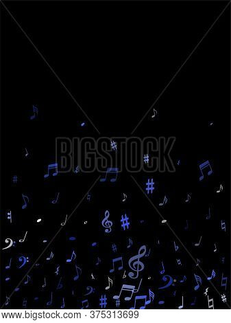Blue Flying Musical Notes Isolated On Black Backdrop. Fresh Musical Notation Symphony Signs, Notes F