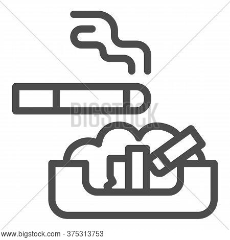 Cigarette In Ashtray Line Icon, Smoking Concept, Ash Tray Sign On White Background, Smoky Cigarette