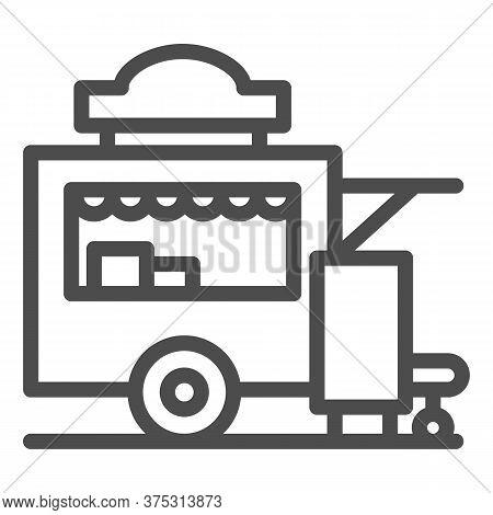 Trailer Kiosk Line Icon, Street Food Concept, Street Kiosk Sign On White Background, Food Trailer Ic