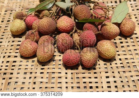 Sweet Lychee Or Litchi Fruits With Selective Focus