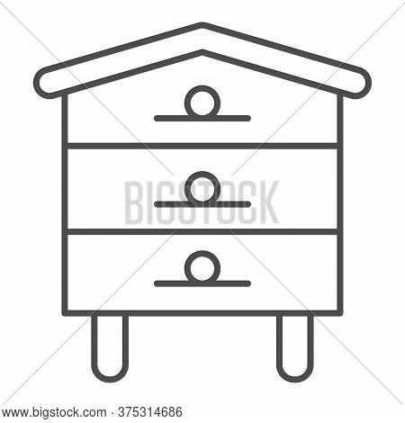 Bee Hive House Thin Line Icon, Beekeeping Concept, Beehive Sign On White Background, Hive For Bees I