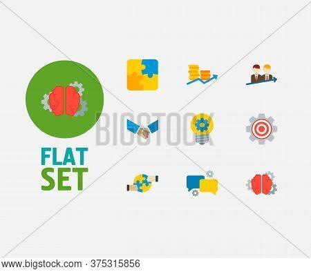 Technology Partnership Icons Set. Successful Partnership And Technology Partnership Icons With Creat