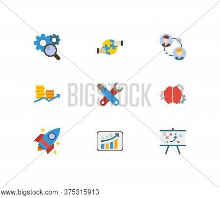 Technology Cooperation Icons Set. Technical Strategy And Technology Cooperation Icons With Collabora