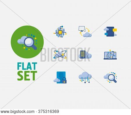 Cloud Service Icons Set. Secure Account And Cloud Service Icons With Cloud Computing, File Storage A