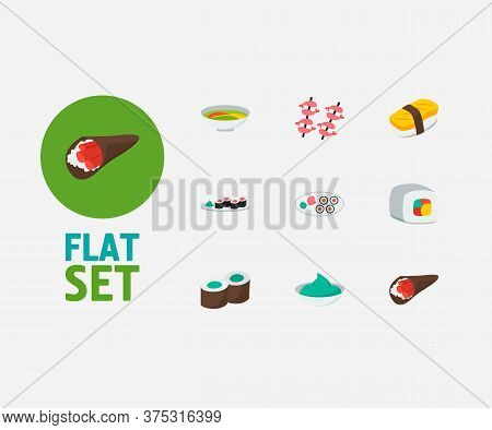 Food Icons Set. Futomaki And Food Icons With Kappa Maki, Shrimp And Japanese Roll. Set Of Green For