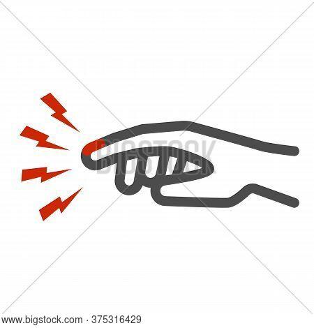 Finger Pain Line Icon, Body Pain Concept, Injured Finger Sign On White Background, Acute Finger Pain