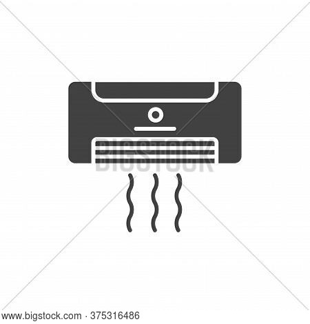 Air Conditioner Black Glyph Icon. Hotel Amenities Sign. Pictogram For Web Page, Mobile App, Promo. U
