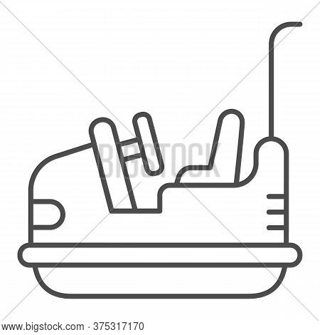 Bumper Car Thin Line Icon, Amusement Park Concept, Electric Machine For Racetrack Sign On White Back