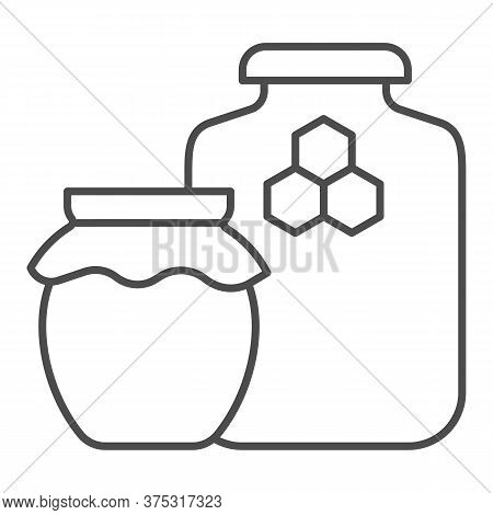Jars Of Honey Thin Line Icon, Beekeeping Concept, Natural Honey In Pots Sign On White Background, Tw